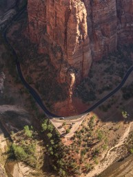 Breathtaking views from Scout Lookout along the hike to Angels Landing in Zion National Park Utah