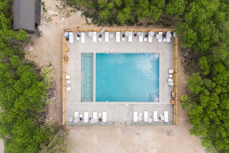 Top view of the outdoor pool at Yonder Escalante | Bare Escape