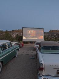 Vintage car outdoor movie theater at Yonder Escalante | Bare Escape