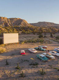 Top view of outdoor drive in Theater at Yonder Escalante | Bare Escape