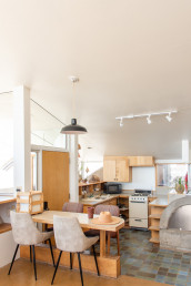 The kitchen area of the Sky Suite AirBnb at Arcosanti | Bare Escape